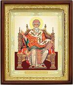 Спиридон Тримифунтский (трон), икона в деревянной рамке (Д-18пс-76)