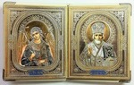 Складень в кожаном футляре (К-27-Б), мягкий, малый, Ангел Хранитель, Николай Чудотворец, 22 Х 13,5 см. цвет белый.