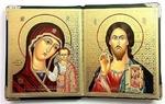 Складень в кожаном футляре (К-36-ТК), мягкий, малый, Казанская Б.М., Спаситель, византийский стиль, 22 Х 13,5 см. цвет тёмно коричневый.