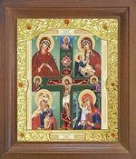 Четырехчастная Б.М. Икона в деревянной рамке с окладом (Д-26псо-78)