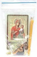 Иверская Б.М.  Набор для домашней молитвы (Zip-Lock). Лик, молитва, свечка, ладан, крестик