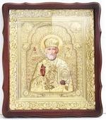 Николай Чудотворец. Храмовая икона в фигурном киоте, в ризе, с багетом, 38 Х 44