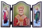 Складень МДФ (165), тройной арочный, Николай Чудотворец, с Архангелами, 13 Х 8,5 см.