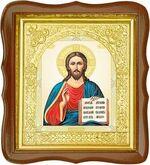 Господь Вседержитель, средняя аналойная икона, фигурный киот (Д-17фс-82)
