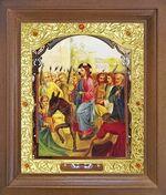 Вход Господень в Иерусалим. Икона в деревянной рамке с окладом (Д-26псо-87)