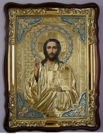 Спаситель, в фигурном киоте, ризе, с багетом. Храмовая икона (60 Х 80)
