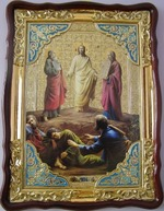 Преображение Господне, в фигурном киоте, с багетом. Храмовая икона (60 Х 80)