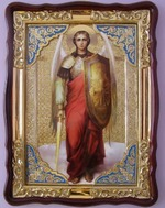 Арх. Михаил (рост), в фигурном киоте, с багетом. Храмовая икона (60 Х 80)