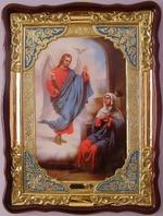 Благовещение, в фигурном киоте, с багетом. Храмовая икона (60 Х 80)