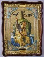 Пророк Илья (птицы), в фигурном киоте, с багетом. Храмовая икона (60 Х 80)