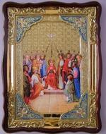 Сошествие святого духа, в фигурном киоте, с багетом. Храмовая икона (60 Х 80)