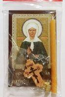 Матрона Московская. Набор для домашней молитвы (Zip-Lock). Лик, молитва, свечка, ладан, крестик