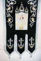 Хоругвь текстиль, бархат, двух-сторонняя вышивка, черная + серебро. Казанская Б.М. + Николай Чудотворец