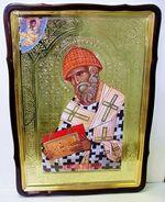 Спиридон Тримифунтский (паст. шапка), в фигурном киоте, с багетом. Храмовая икона 60 Х 80 см.