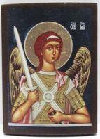 Арх. Михаил (пояс, тёмный фон), икона под старину JERUSALEM панорамная, с клиньями (13 Х 17)
