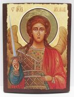 Арх. Михаил (пояс, светлый фон), икона под старину JERUSALEM панорамная, с клиньями (13 Х 17)