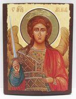 Арх. Михаил (пояс, светлый фон), икона под старину JERUSALEM прямая (13 Х 17)