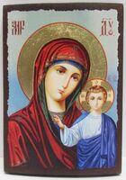 Казанская Б.М. (голубой фон), икона под старину JERUSALEM прямая (11 Х 15)