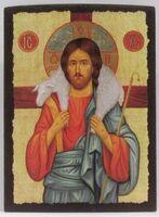 Добрый пастырь, икона под старину JERUSALEM прямая (11 Х 15)
