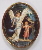 Ангел Хранитель с детьми. Икона автомобильная овал