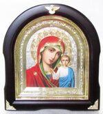Казанская Б.М. Аналойная арочная икона, цвет, серебр.фон
