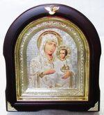 Иерусалимская Б.М. Аналойная арочная икона, бел.од., сер.фон