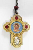 Подвеска автомобильная (99) крест, березовый щит, имитация камней, ладан, орг.стекло, Спаситель