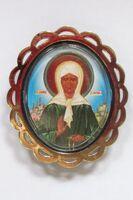 Матрона Московская. Икона автомобильная овал (72х62), ромашка