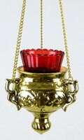 Лампада керамическая подвесная большая, цвет золото