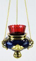 Лампада керамическая подвесная большая с эмалью, с Херувимами, цвет синий