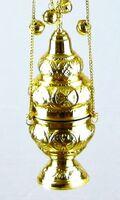 Кадило служебное среднее, греческое, с позвонцами, 58 см.