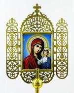 Икона запрестольная (01), резная, Казанская Б.М., Николай Чудотворец