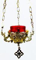 Лампада подвесная малая, с подвесом, латунь, давление (ЛУ)