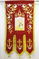 Хоругвь текстиль, бархат, двух-сторонняя вышивка, красная. Казанская Б.М. + Николай Чуцдотворец