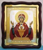 Неупиваемая Чаша Б.М., в фигурном киоте, с багетом. Храмовая икона (43 Х 50)