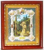 Моление на камне, с багетом. Средняя аналойная икона, зел. конгр., цвет (22 х 25)