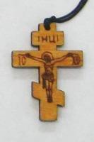 Крест нательный дерево (5), на шнурке, восьмиконечн. средний, березовый щит
