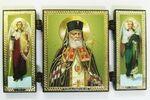 Складень МДФ (39), тройной, Лука (пояс) с Архангелами, 13 Х 7,5 см.