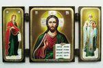 Складень МДФ (43), тройной, Господь Вседержитель с предстоящими, 13 Х 7,5 см.