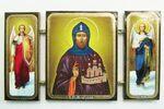 Складень МДФ (44), тройной, Олег Брянский с архангелами, 13 Х 7,5 см.