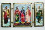 Складень МДФ (53), тройной, Самон, Гурий, Авив, с архангелами, 13 Х 7,5 см.