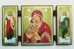 Складень МДФ (52), тройной, Донская Б.М. с архангелами, 13 Х 7,5 см.