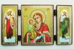 Складень МДФ (48), тройной, Троеручица Б.М. с архангелами, 13 Х 7,5 см.