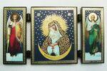 Складень МДФ (47), тройной, Остробрамская Б.М. с архангелами, 13 Х 7,5 см.