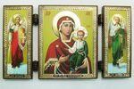 Складень МДФ (46), тройной, Смоленская Б.М. с архангелами, 13 Х 7,5 см.