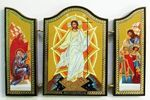 Складень МДФ (73), тройной арочный, Воскресение Христово, с Предстоящими, 13 Х 8,5 см.