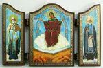 Складень МДФ (65), тройной арочный, Спорительница хлебов Б.М., с Предстоящими, 13 Х 8,5 см.