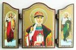 Складень МДФ (61), тройной арочный, Ольга Св.Кн., с Архангелами, 13 Х 8,5 см.