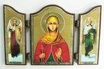 Складень МДФ (69), тройной арочный, Наталья Св.Муч., с Архангелами, 13 Х 8,5 см.