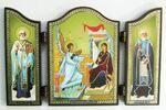 Складень МДФ (68), тройной арочный, Благовещение, с Преподобными, 13 Х 8,5 см.